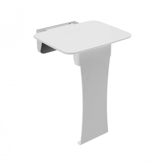 Liberty Wall Mounted Shower Seat With Leg White